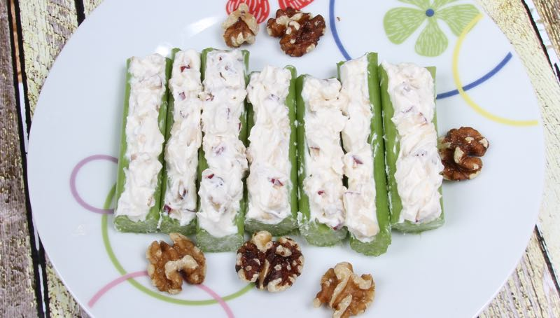 Gluten-Free Stuffed Celery Sticks with Apples & Walnuts Recipe